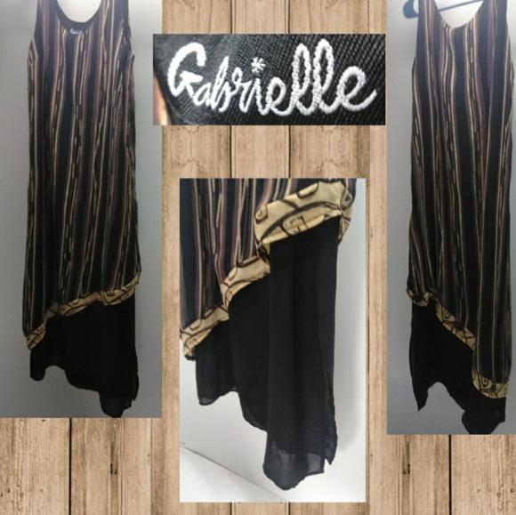 gabrielle Dresses & Skirts - Gabrielle Silky Tan & Black Two Layered Maxi Dress